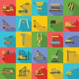 Lifting machine icons set, flat style. Lifting machine equipment icons set. Flat illustration of 25 lifting machine equipment cargo icons for web stock illustration