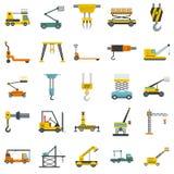 Lifting machine icons set isolated. Lifting machine equipment icons set. Flat illustration of 25 lifting machine equipment cargo icons isolated on white stock illustration