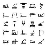 Lifting machine icons set, simple style. Lifting machine equipment icons set. Simple illustration of 25 lifting machine equipment cargo icons for web stock illustration