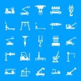 Lifting machine icons set, simple style. Lifting machine equipment icons set. Simple illustration of 25 lifting machine equipment cargo vector icons for web royalty free illustration