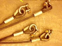 Lifting sling. Sling and shackles on the floor Royalty Free Stock Photos