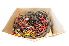 Lifting slings stacked in a cardboard box. Stock Photos