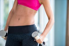 Lifting some weights and working on her biceps in a gym Royalty Free Stock Photography