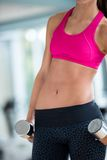 Lifting some weights and working on her biceps in a gym Royalty Free Stock Photos