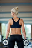 Lifting some weights and working on her biceps in a gym Royalty Free Stock Image