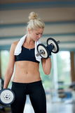 Lifting some weights and working on her biceps in a gym Stock Photos