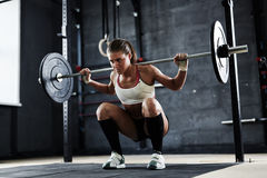 Lifting weight in gym. Pretty young athlete lifting weight in gym Royalty Free Stock Photography