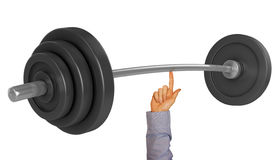 Lifting weight with one finger Royalty Free Stock Image