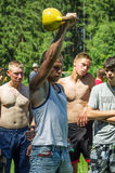 Lifting weights Amateur athletic competition in the Kaluga region in Russia. Lifting weights is the traditional Russian sport. He actively practiced in the royalty free stock photos