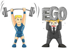 Lifting your EGO is heavy. Two men are lifting some weight, one is a weightlifting but another is carrying his EGO. (vector Royalty Free Stock Photography