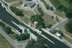 Liftlock. Peterbourough lift lock from the air Royalty Free Stock Image