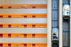 Lifts and balconys in trade center Stock Photo