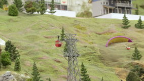 Lifts in mountains in summer stock footage