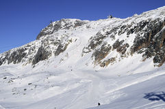 Lifts and slopes in the Alpe dHuez ski resort Royalty Free Stock Photos