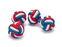 Ligações de punho de seda vermelhas, brancas e azuis do nó imagens de stock royalty free