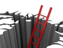 Ligações vermelhas da escada fora de um poço ilustração stock