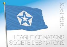 Liga av den historiska flaggan för nationer, 1919 - 1946 stock illustrationer