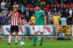 Liga av Irland den f?rsta uppdelningsmatchen mellan Cork City FC vs Derry City FC arkivbild