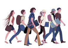 Liga av tonårs- studenter som tillbaka går till skolan stock illustrationer