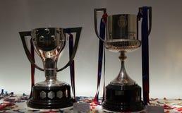 Liga de Barcelona y trofeos dobles 2015-16 de la taza Fotografía de archivo libre de regalías