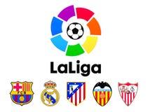 Liga de Fútbol Profesional LFP, conocido comúnmente en inglés como La Liga, fútbol aporrea el logotipo ilustración del vector