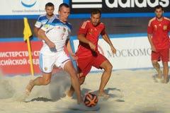 Liga de futebol Moscou da praia do Euro 2014 Foto de Stock Royalty Free