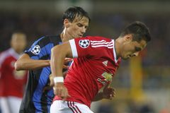 Liga FC Brujas - Manchester United del campeón de Chicharito Foto de archivo