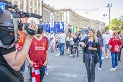 Liga KIEV final, UCRANIA de los campeones - 26 de mayo de 2018: fans imágenes de archivo libres de regalías
