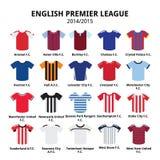 Liga primera inglesa 2014 - iconos de los jerséis del fútbol 2015 o de fútbol fijados ilustración del vector