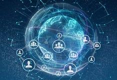 Ligando entidades Trabalhos em rede, meio social, uma comunicação no fundo da terra Rede pequena conectada a um maior ilustração stock