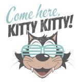 Ligar el gato retro de la historieta Fotografía de archivo libre de regalías
