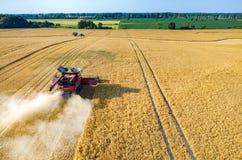 Ligas e tratores que trabalham no campo de trigo Foto de Stock