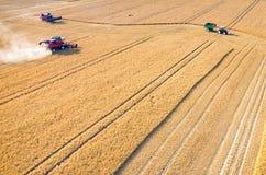 Ligas e tratores que trabalham no campo de trigo Imagens de Stock