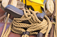 Ligature,tying, rope , hook. Hooking for ropes of sails Stock Photo