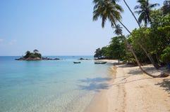 Liggande av den härliga tropiska stranden royaltyfria bilder