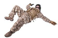 Liggande död soldat royaltyfri fotografi