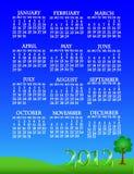 liggande för 2012 kalender Royaltyfri Foto
