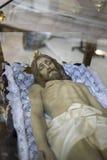 Liggande jesus christ helig vecka i Spanien, bilder av oskulder och beträffande arkivbilder