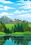 Liggande med skogen, floden och berg Arkivbild