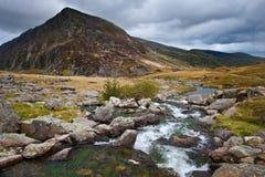 Liggande in mot Penna-år-Ole-Hudsvulst i Snowdonia Royaltyfria Foton