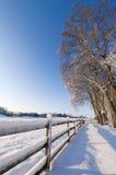 Liggande, stakettrees och snow. Arkivbild