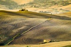 liggande tuscan Härlig Tuscan morgon Arkivfoto