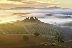 liggande tuscan Härlig Tuscan morgon Royaltyfri Fotografi