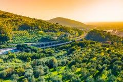 liggande tuscany Tuscany motorway, Italien Arkivfoton