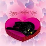 liggande valentin för svart katthjärta royaltyfri illustrationer