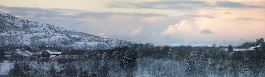 liggandenorway vinter Arkivfoto
