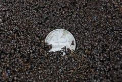 Ligger silvermyntet för den vita sovjet i svart jordning på gatan royaltyfri fotografi