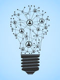 Ligh bulb network. Illustration with abstract light bulb with computer network Stock Photos