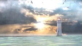 Lighhouse en onweer op overzees royalty-vrije illustratie