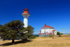 Lighhouse in Georgina Point, Mayne Island, Brits Colombia Stock Afbeeldingen